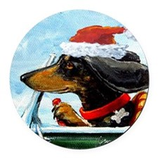 Holiday Dachshund Round Car Magnet