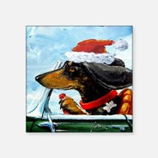 "Holiday Dachshund Square Sticker 3"" x 3"""