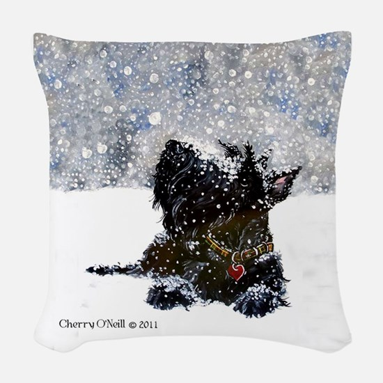 Scottish Terrier Christmas Woven Throw Pillow