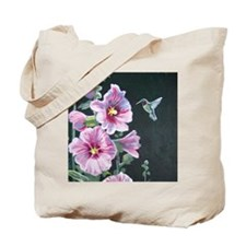 Hummingbird and Hollyhock Tote Bag