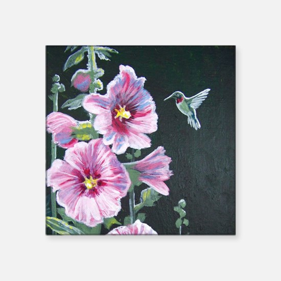 "Hummingbird and Hollyhock Square Sticker 3"" x 3"""