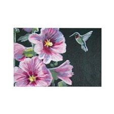 Hummingbird and Hollyhock Rectangle Magnet