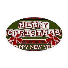 Very Plaid Christmas Oval Car Magnet