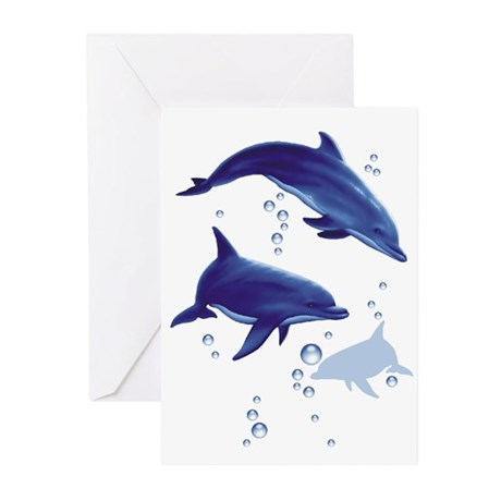 Blue dolphins Greeting Cards (Pk of 10)