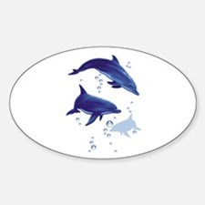 Blue dolphins Oval Decal