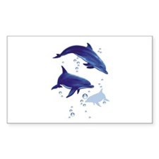 Blue dolphins Rectangle Decal