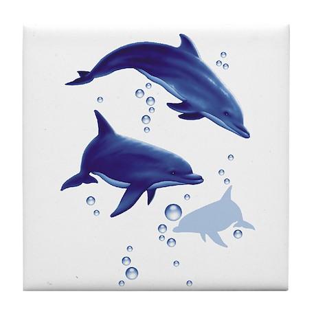 Blue dolphins Tile Coaster