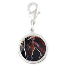 Clifford on Black Silver Round Charm