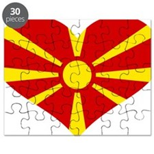 Macedonia flag heart Puzzle