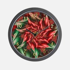 Fractal Christmas Poinsettia Clock Wall Clock