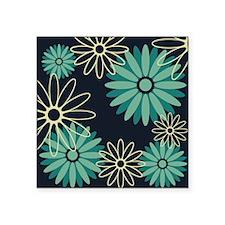 "Dark Blue Flowers Square Sticker 3"" x 3"""