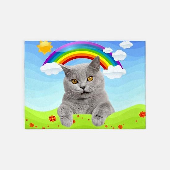 Rainbow Kitty 5'x7'Area Rug