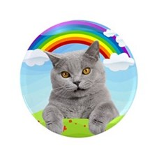 "Rainbow Kitty 3.5"" Button"