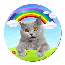 Rainbow Kitty Round Car Magnet