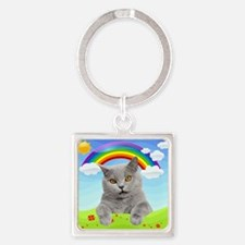 Rainbow Kitty Square Keychain