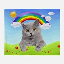 Rainbow Kitty Throw Blanket