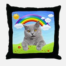 Rainbow Kitty Throw Pillow