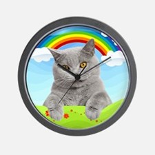 Rainbow Kitty Wall Clock