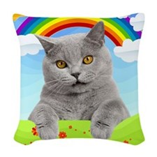 Rainbow Kitty Woven Throw Pillow