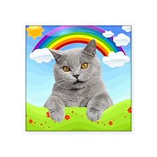 "Rainbow Kitty Square Sticker 3"" x 3"""