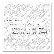 """Omnivore Square Car Magnet 3"""" x 3"""""""