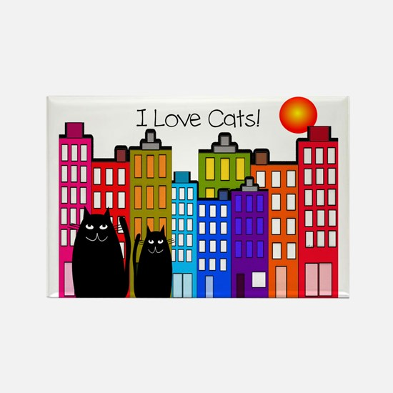 I love cats 2 Rectangle Magnet