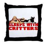 Sleeps With Critters Throw Pillow
