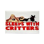Sleeps With Critters Rectangle Magnet