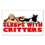 Sleeps With Critters Rectangle Sticker