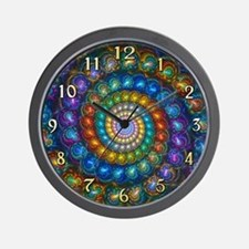 Fractal Spiral Shell Beads Clock Face Wall Clock