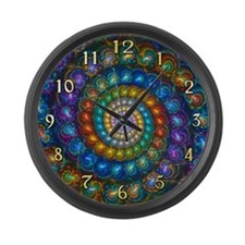 Fractal Spiral Shell Beads Clock  Large Wall Clock
