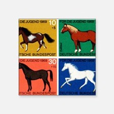 "1969 Germany Horses Set Pos Square Sticker 3"" x 3"""