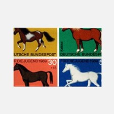 1969 Germany Horses Set Postage S Rectangle Magnet