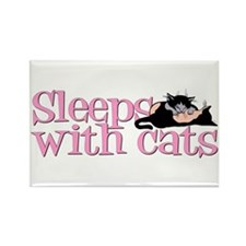 Sleeps With Cats Rectangle Magnet