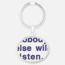 Talking to self 2 Oval Keychain