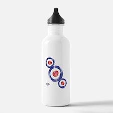 Retro Mod target Art Water Bottle