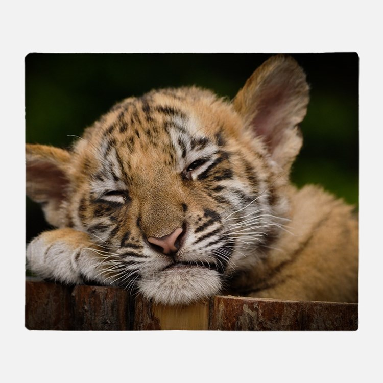 Siberian Tiger Cub Throw Blanket