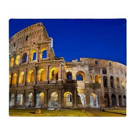 Rome - Colosseum At Dusk Throw Blanket