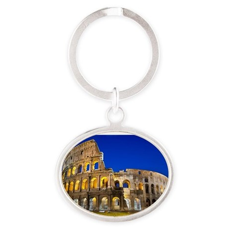 Rome - Colosseum At Dusk Oval Keychain
