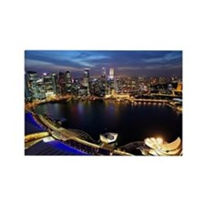 Singapore city skyline at night Rectangle Magnet
