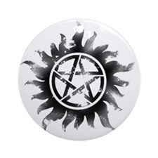 Anti-Possession Symbol Black (Glow) Round Ornament
