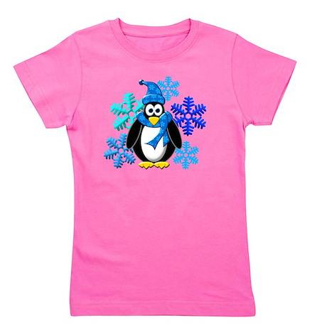 Penguin Snowflakes Winter Design Girl's Tee