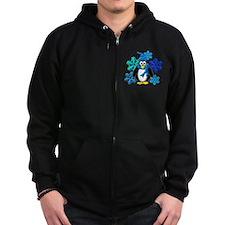 Penguin Snowflakes Winter Design Zip Hoodie