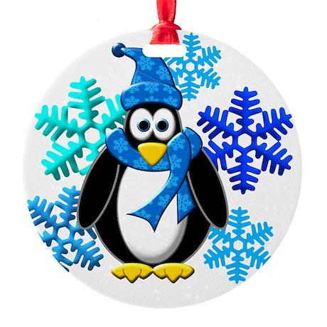 Penguin Snowflakes Winter Design Round Ornament