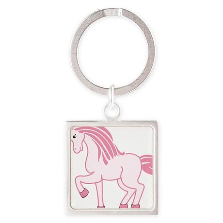 Pink Unicorn Square Keychain