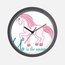 U is for Unicorn Wall Clock