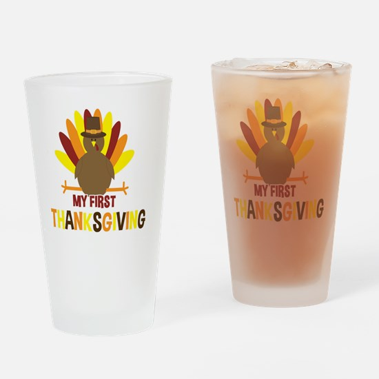 My First Thanksgiving Turkey Drinking Glass