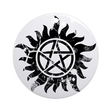Anti-Possession Symbol Black (Crack Round Ornament
