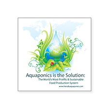 "Friendly Aquaponics Earth D Square Sticker 3"" x 3"""