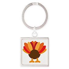 Turkey Face, Gobble Gobble Gobble  Square Keychain